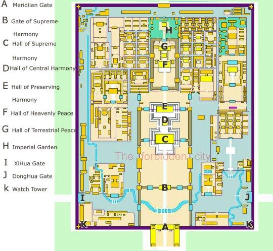 """Plano de la Ciudad Prohibida de Beijing (Pekín, para los """"carcas"""" como yo)."""
