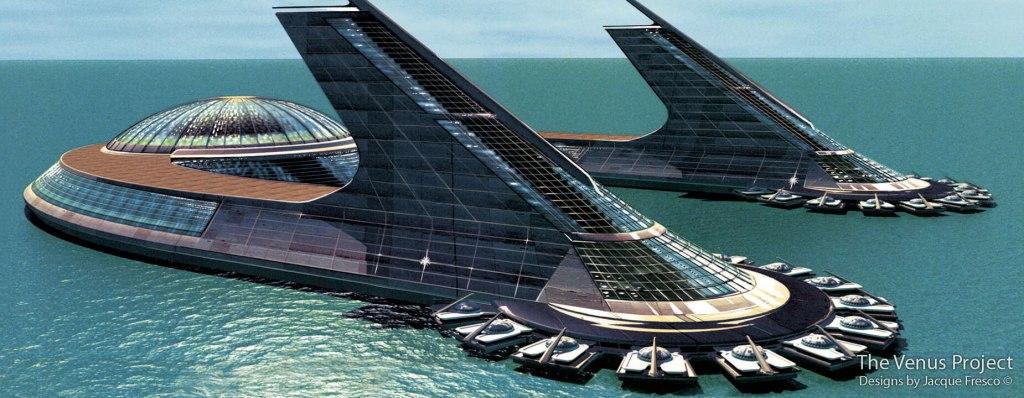 """Diseño de """"ciudad marina"""" de Jacque Fresco. Se me están cayendo las lágrimas de la risa en estos mismos momentos. Como ingeniero (que no lo es) no tiene futuro... como humorista, se gana el pan, vaya."""