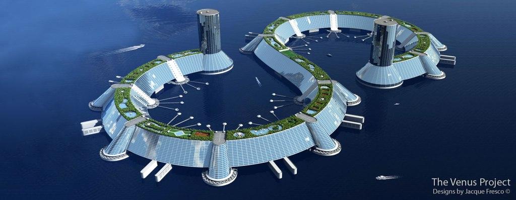 """Diseño de """"ciudad marina"""" de Jacque Fresco. Lo que iba a gastar el tipo en limpiacristales, oiga."""