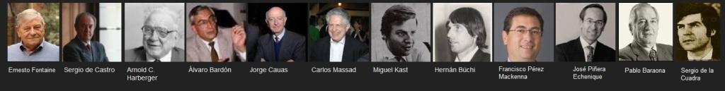 """Algunos de los """"Chicago boys"""" más relevantes. Arnold Harberger fue su profesor en Chicago (de los que estudiaron allí, hubo algunos como Piñera que se doctoraron por Harvard).."""