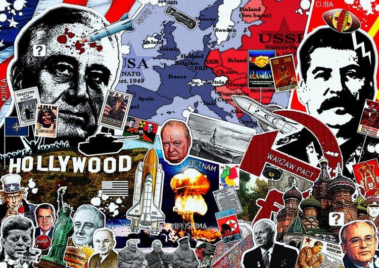 Collage con imágenes de los elementos más representativos de la Guerra Fría.