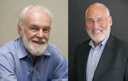 David Harvey (1935), catedrático de Antropología de la City University de Nueva York y miembro de la London School of Economics (izquierda) y Joseph Eugene Stiglitz (1943), premio (mal llamado) Nobel de Economía de 2001 (derecha). Dos de los autores de relevancia académica más críticos con el neoliberalismo. Harvey representa una corriente más apasionada y centrada en la crítica social, mientras que Stiglitz es un crítico más centrado en lo económico y en los números.