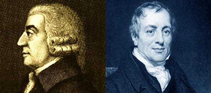 Adam Smith (1723-1790), a la izquierda, y David Ricardo (1772–1823), dos de los economistas clásicos más influyentes. Ambos fueron, en los primeros días de la Economía como rama de estudio académica diferenciada, defensores de teorías del valor objetivas. Muy al principio de la formación economista, se pensaba intuitivamente que el valor debía tener obligatoriamente una razón objetiva. No fue hasta mediados del XIX con la revolución merginalista que se descubrió que el valor era tan complejo que no tenía una única variable como