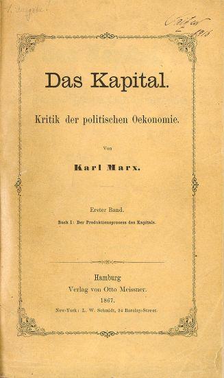 Portada de uno de los primeros libros (en alemán) de El Capital.