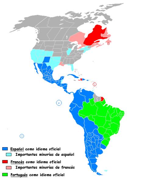 Distribución de lenguas latinas en América